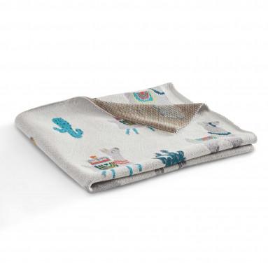 Couverture tricot lama