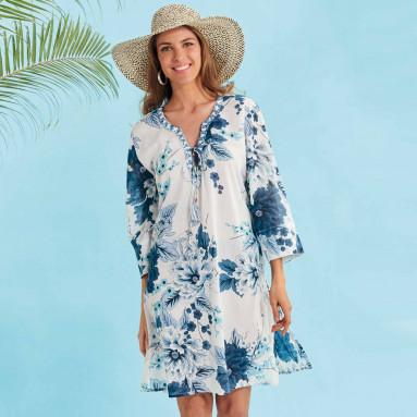 Tunique plage Fleur bleue