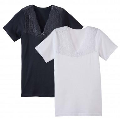 Tee-shirts dentelle - les 2